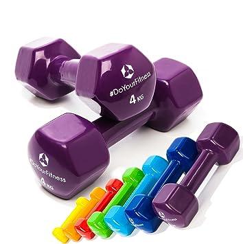 Pesas de vinilo »Hexagon« / Mancuernas disponibles en diferentes pesos y colores / 4 kg, violeta: Amazon.es: Deportes y aire libre