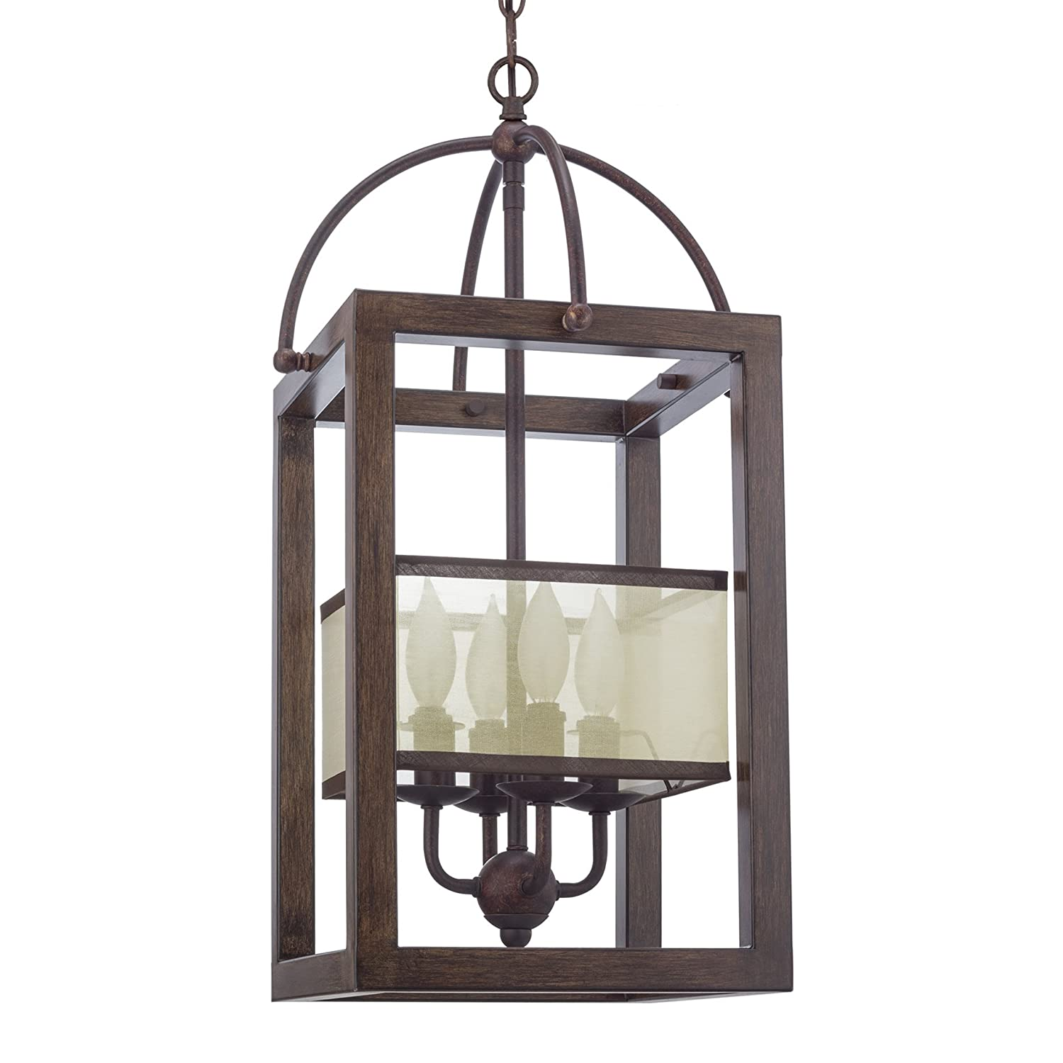 "Kira Home Raven 23"" 4-Light Traditional Foyer Lantern Cage Chandelier, Metal Frame + Mission Wood Style Finish"
