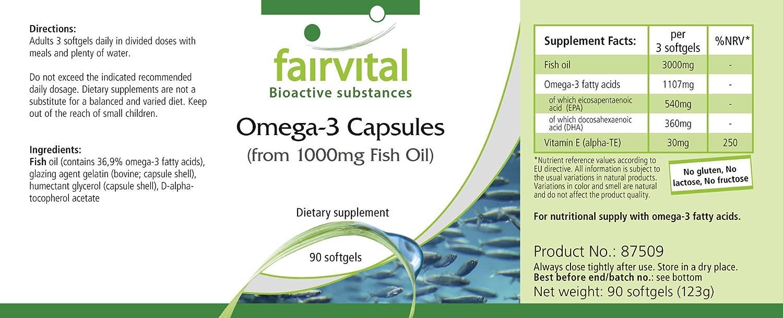 Omega-3 cápsulas de aceite de pescado 1000 mg - 1 mes - ALTA DOSIS - 90 Softgels - con EPA y DHA: Amazon.es: Salud y cuidado personal