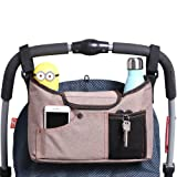 AMZNEVO Best Universal Baby Jogger Stroller Organizer Bag / Diaper Bag with Shoulder Strap and Two Deep Cup Holders. Extra Storage Space for Organize the Baby Accessories and Your Phones. (BROWN)