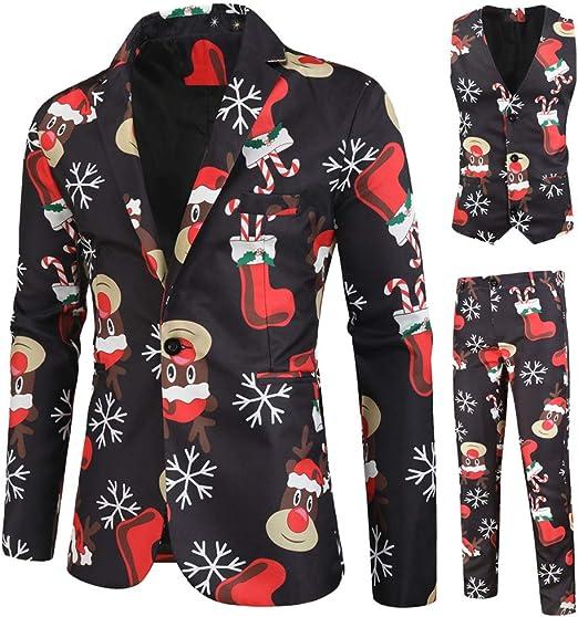 Herren Anzug Regular Fit Business Anzüge 3 Teilig Anzugjacke Anzughose Weste Weihnachtsanzüge für Herren in Verschiedenen Drucken Smoking Slim Fit