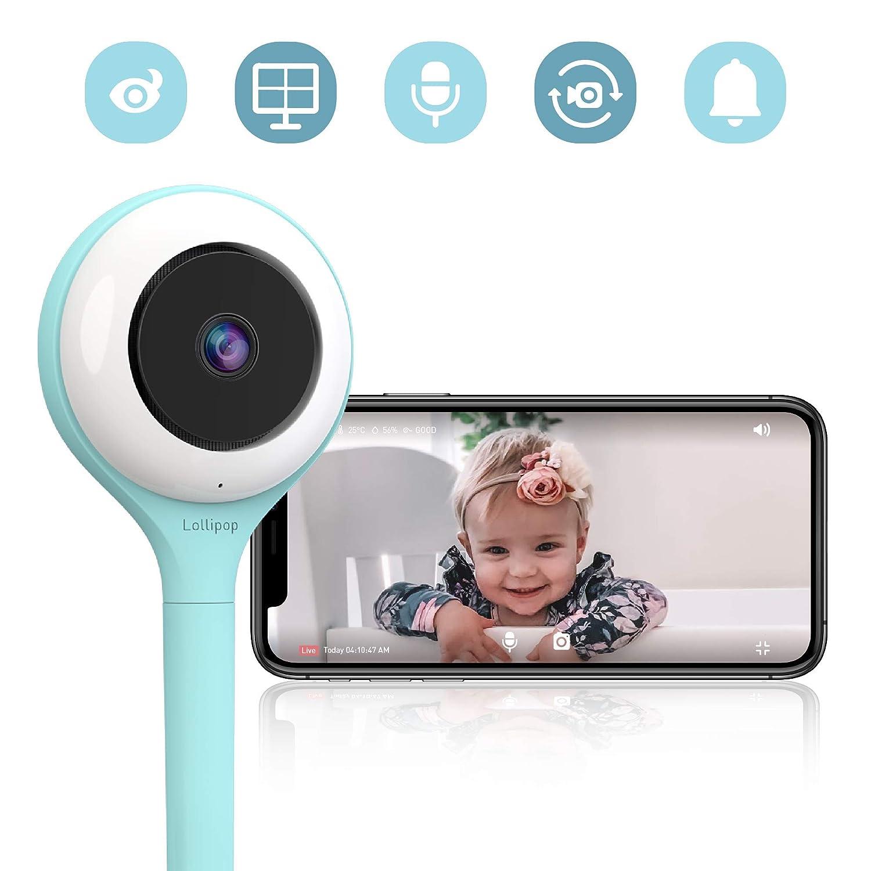 Lollipop camera unterst/ützt 2 Kameras//Nachtsicht//Ger/äusch- und Schreierkennung//2-Wege-Kommuinikation Wandmontage T/ürkis HD-WLAN-Baby//Haustier-/Überwachungskamera