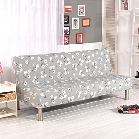 Cornasee Sofa Cover 3 Seater For Armless Sofa/Sofa Bed, Stretchy Floral  Couch Slipcover