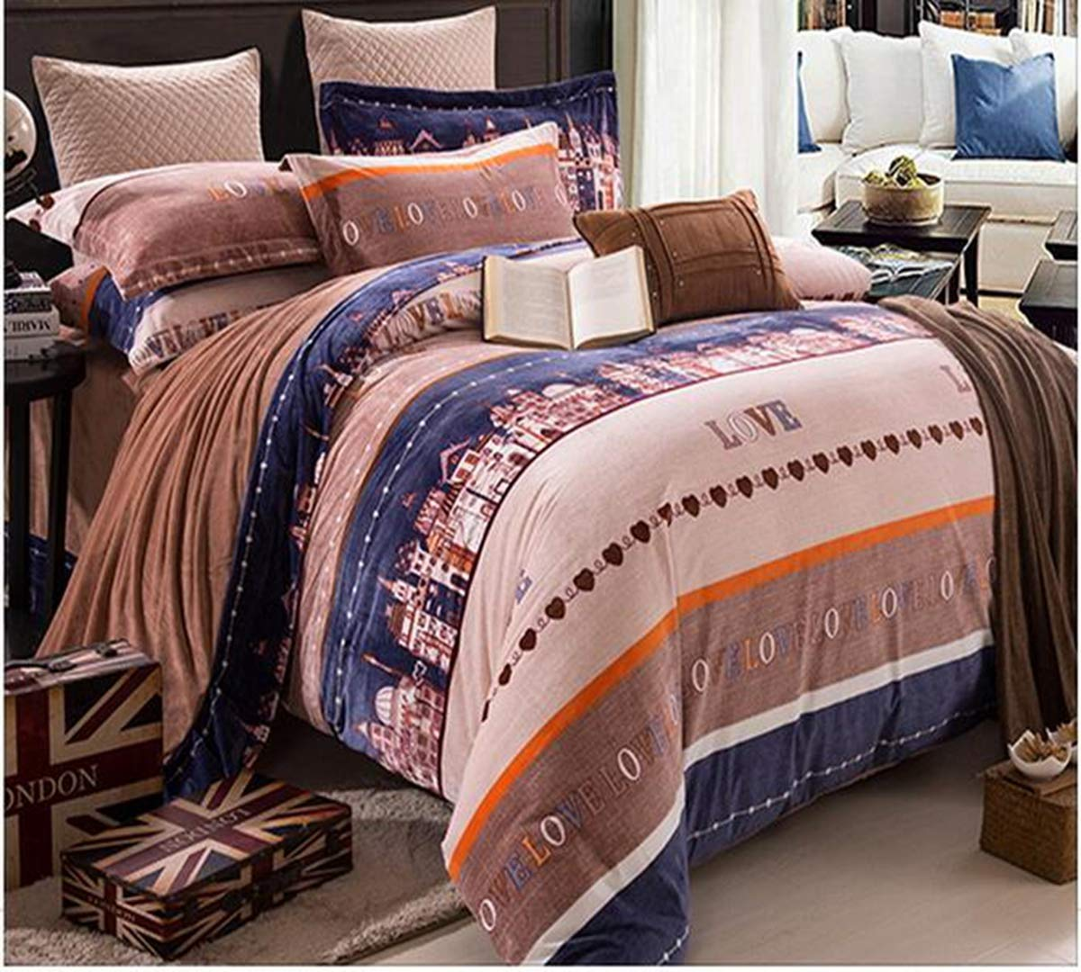 HUROohj Cotton,The New Bedding Four Sets,European Style,Bedding Kits( 4 Pcs) for Bed Size Twin/Queen/King,-King