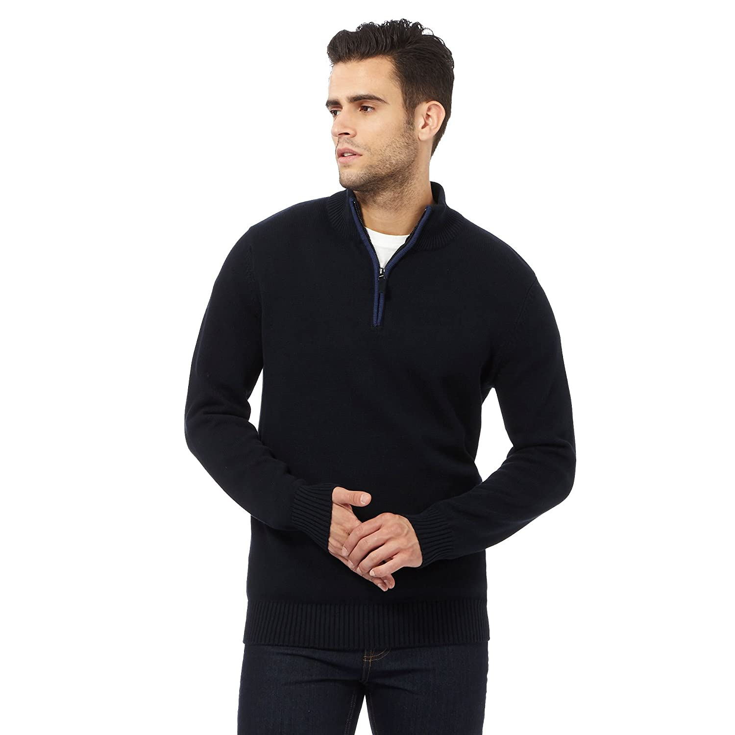 Maine New England Mens Navy Tipped Zip Neck Sweater