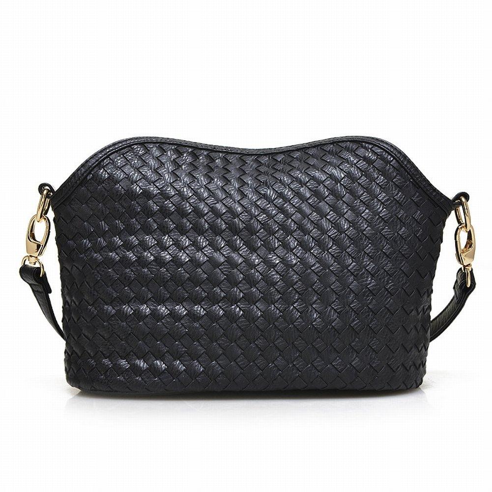 Weibliche Reine Farbe Reißverschluss Schnalle Handgewebte Schulter Messenger Bag , schwarz