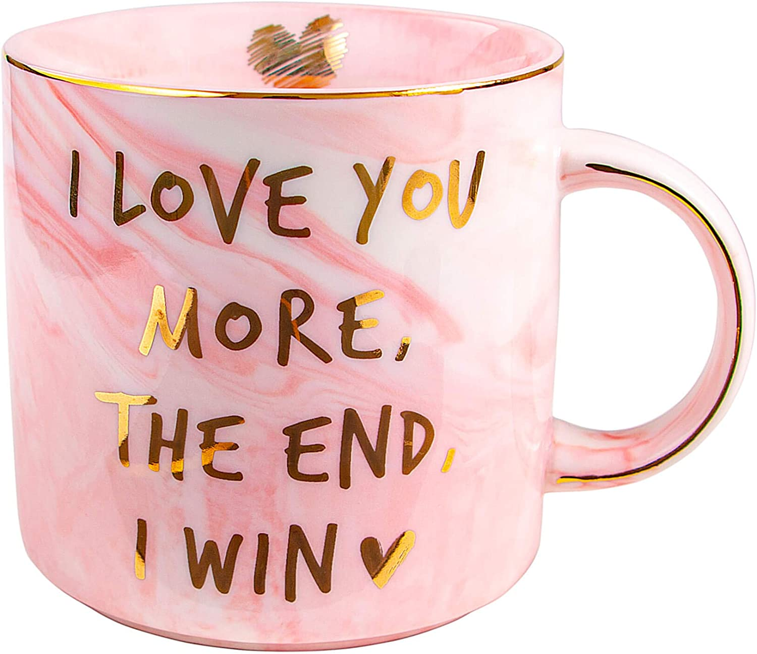 Vilight Gifts for Women Girlfriend Wife - I Love You More The End I Win Mug for Her - Marble Pink Coffee Cup 11.5 Oz