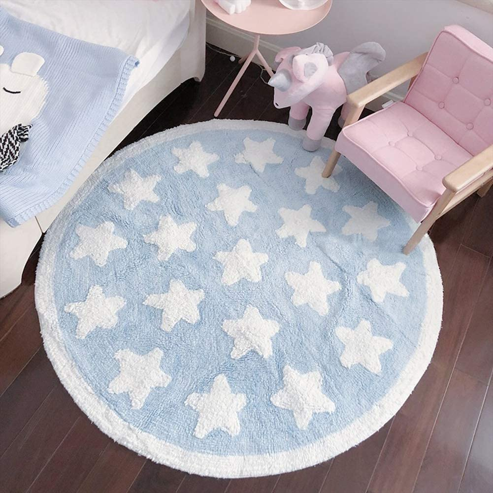 Plush Cotton Star Round Rug Soft Baby Crawling Play Mat Kids Teepee Tent Game Carpet Fluffy Blue Area Rugs for Boys Bedroom 43 Inches Diameter