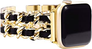 UOOFROM Bracelet Compatible for Apple Watch Band for Women 42mm 44mm, Women Girl Handmade Jewelry Bracelet for iWatch Band Series SE 6 5 4 3 2 1 (42 gold/black)