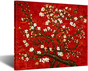 Kreative Arts Canvas Prints Giclee Artwork for Wall Decor Classic Van Gogh Artwork Oil Paintings Reproduction Almond Blossom Canvas Picture Photo Prints on Canvas Art for Wall (Red)