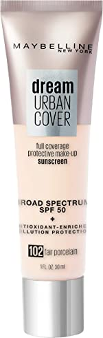Maybelline Dream Urban Cover Flawless Coverage Foundation Makeup, SPF 50, Fair