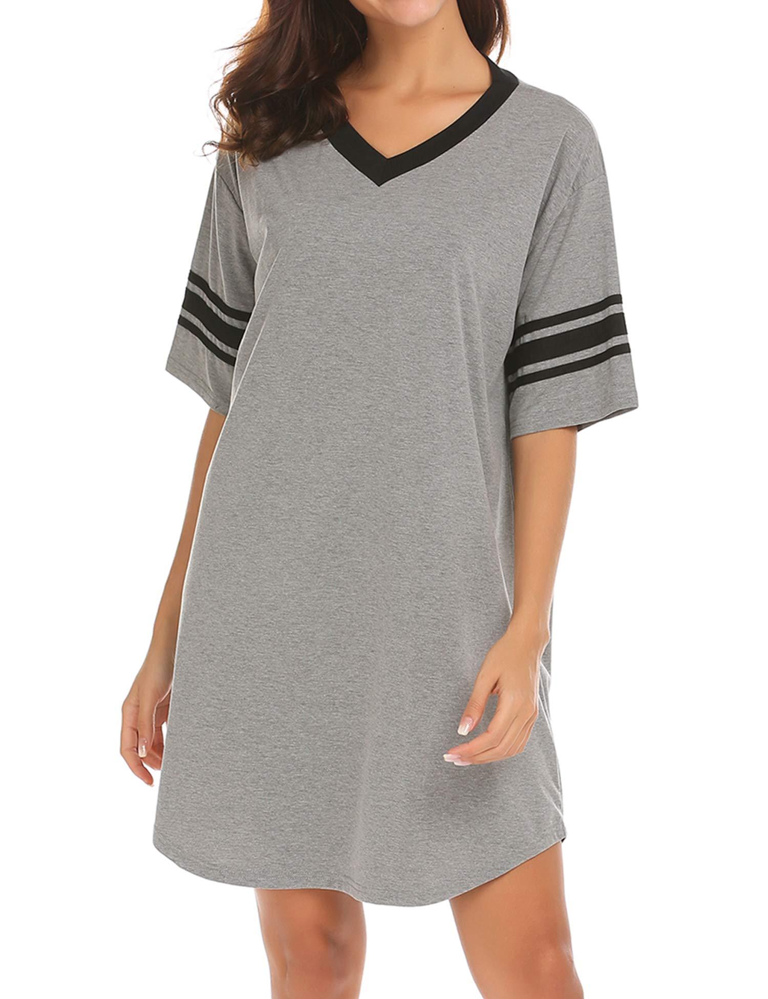 Ekouaer Women's Nightgown Cotton Sleep Shirt V Neck Short Sleeve Loose Comfy Pajama Sleepwear,A_grey,X-Large by Ekouaer