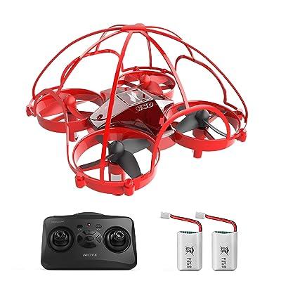 ATOYX Mini Drone, AT-66D RC Drone Técnica de Tentetieso, 3D Flips,Una Tecla de Retorno, Altitud Hold, Modo sin Cabeza, 3 Modos de Velocidad, 2 Baterías, Mejor Regalo, Rojo: Juguetes y juegos