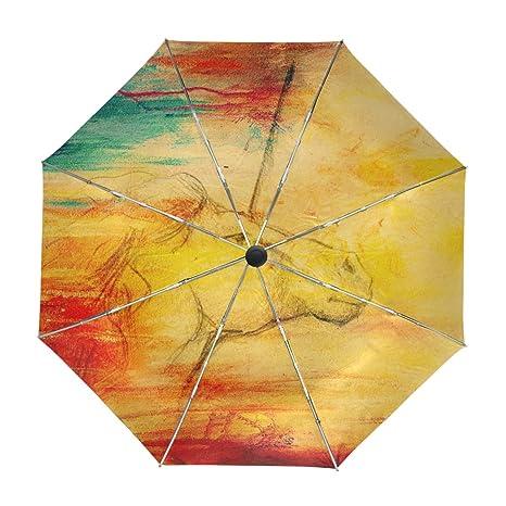 ALAZA Viajes paraguas de apertura automática Cerca de Protección UV Vintage Dibujo colorido unicornio prueba de