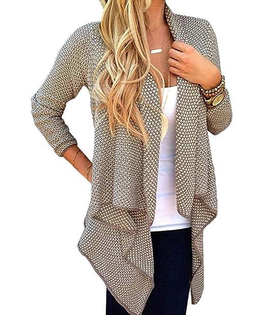 BOLAWOO Abrigo Tejido Mujer Primavera Otoño Largos Cardigan Elegante Mode De Marca Vint: Amazon.es: Ropa y accesorios