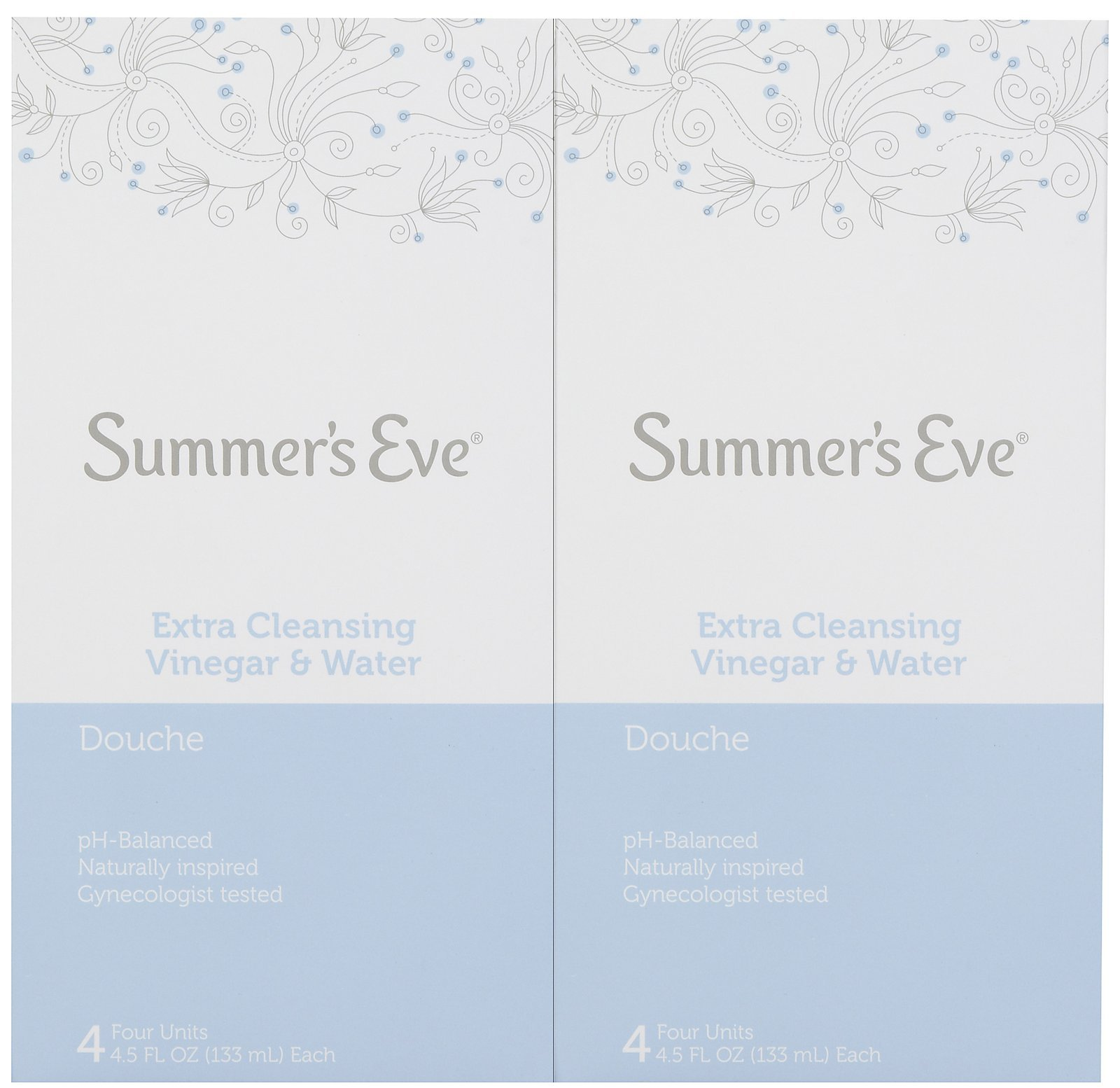 Summer's Eve Douche, Extra Cleansing Vinegar and Water, 4-Units, 4.5 Ounce Each (2-Pack)