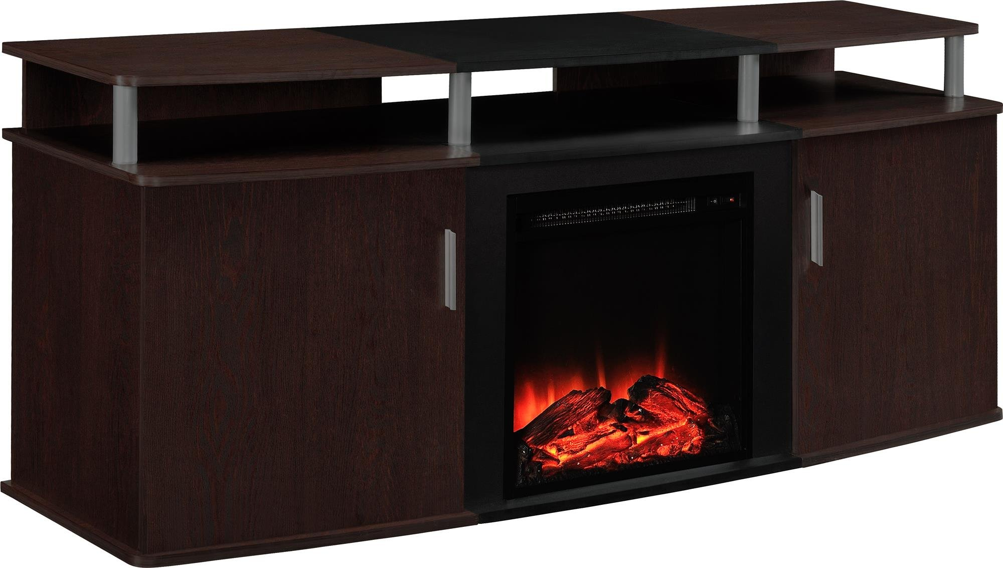 altra furniture carson fireplace tv console 70 cherry black fireplace tv new. Black Bedroom Furniture Sets. Home Design Ideas