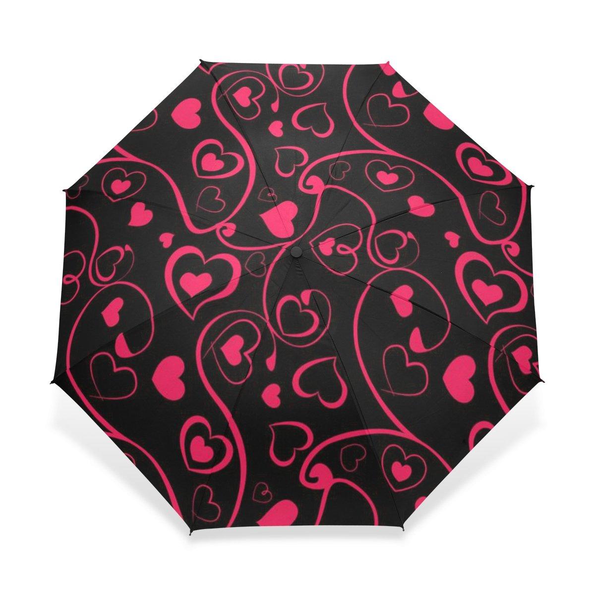 baihuishop防風ゴルフ傘、コンパクトで旅行for Easy Carryingスポーツ雨傘 – 強力なフレーム壊れないハートパターンパターン B01FQJHTVW
