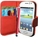 fi9® SAMSUNG GALAXY FAME GT-S6810 S6810P BOOK WALLET FLIP PU LEATHER CASE COVER POUCH + SCREEN PROTECTOR + STYLUS PEN (RED)