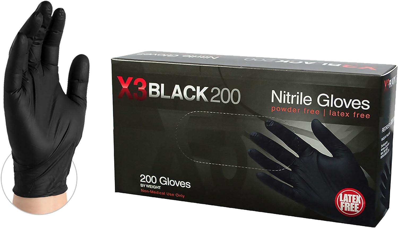 Black Nitrile Latex-Free Powder-Free Gloves Pack Of 200 Extra Large