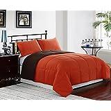 Orange / Brown 3-Piece Reversible Down Alternative Comforter Set | Size : KING | One Day Sale