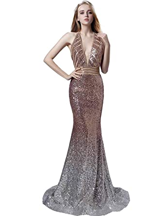 558edfaa52 Sarahbridal Juniors Sequin Mermaid Bridesmaid Dress Long Sexy Backless  Wedding Party Prom Gowns at Amazon Women s Clothing store