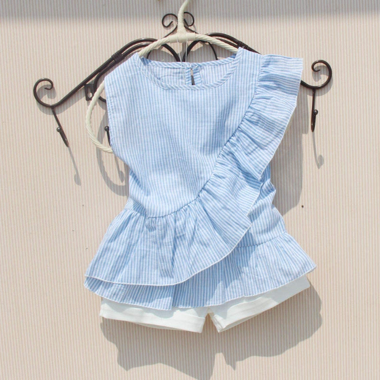 TILLY ANDERSON Girls Summer Clothes 2019 Girls T Shirt Children Clothing Striped Cotton Sleeveless T Shirt School Girls