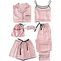 WDIRARA - Pijama de satén para Mujer, 7 Piezas, diseño de Lunares