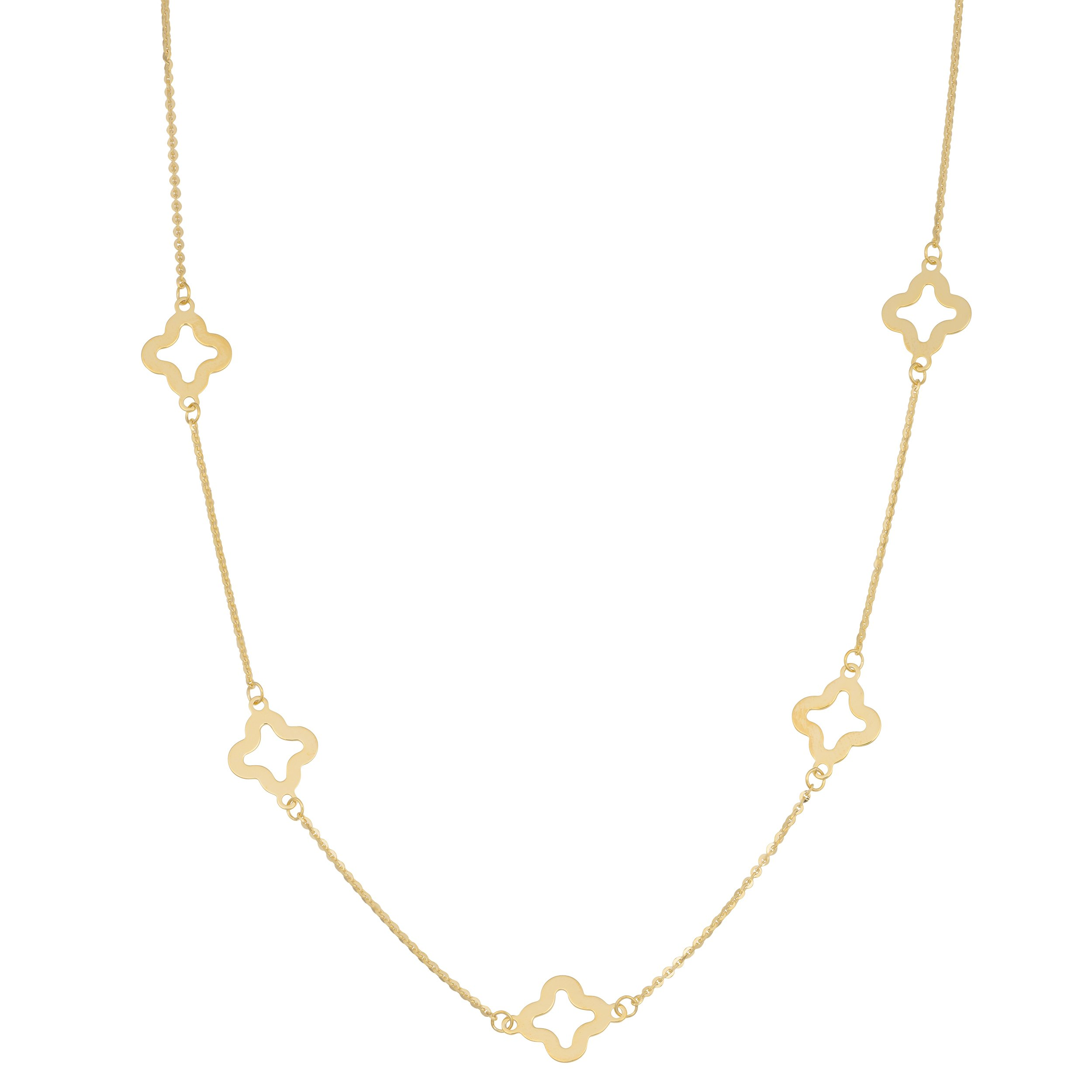 14k Yellow Gold Clover Flower Station Necklace (18 inch) by Kooljewelry