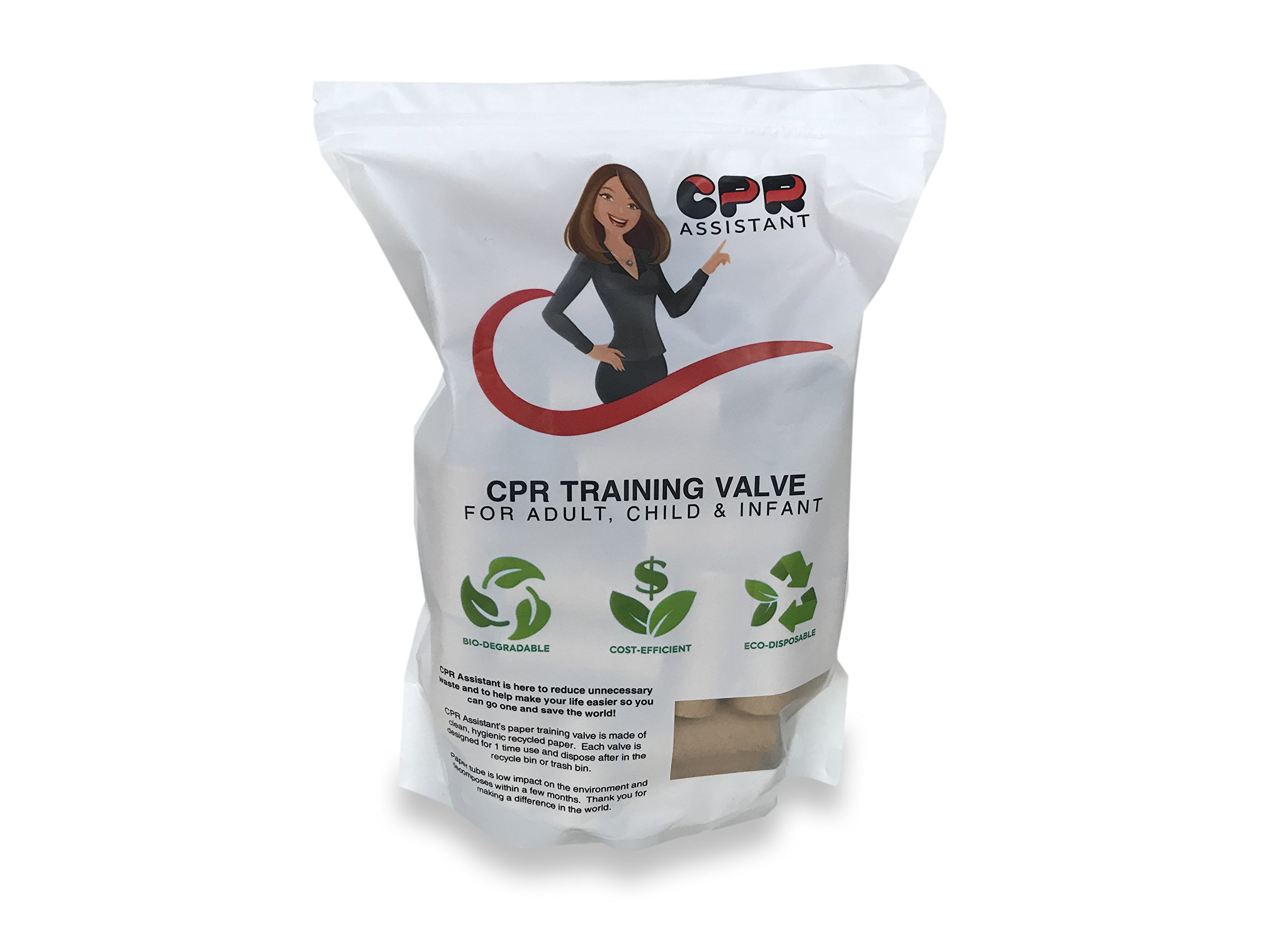 CPR Assistant(TM) Disposal CPR Training Breathing Valve - 50 Pack | Professional Fist Aid Practicing Set | Made of Eco-Friendly, High-Quality Paper Roll | Universal Size - Fits all Breathable Masks |