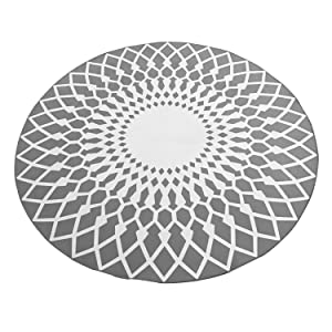 CivilWeaEU Elegante Alfombra Redonda en Blanco y Negro Sala de Estar Mesa de Centro Alfombra Grande (Color : Gris, Tamaño : 120CM)