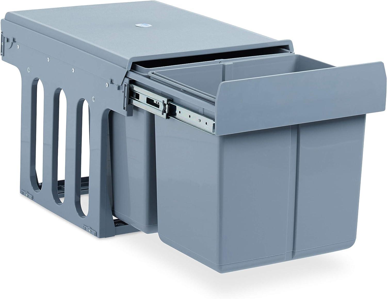 Relaxdays Contenedor empotrable de cocina, Deslizable, 2x Cubos de 15L, Para armarios, Plástico, 35 x 34 x 48 cm, Gris