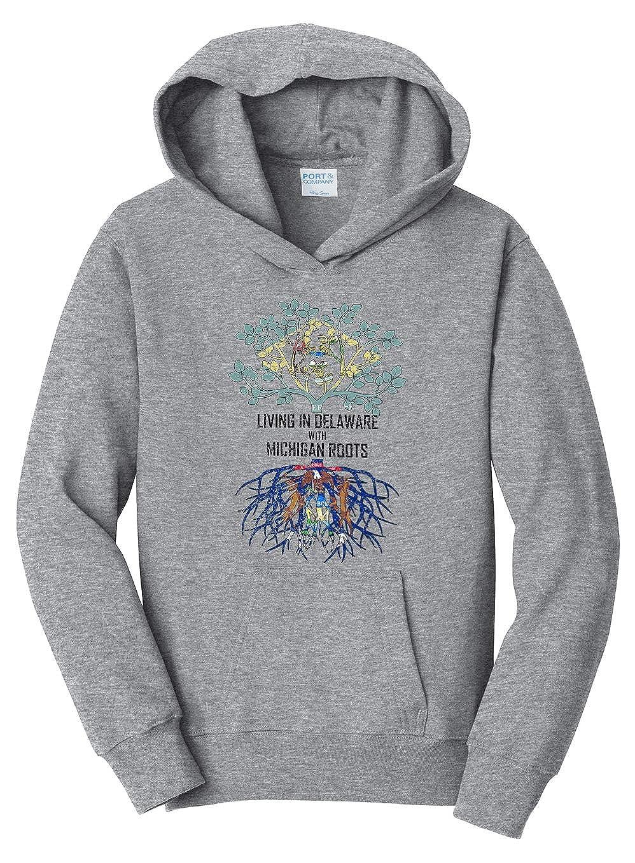 Tenacitee Girls Living in Delaware with Michigan Roots Hooded Sweatshirt