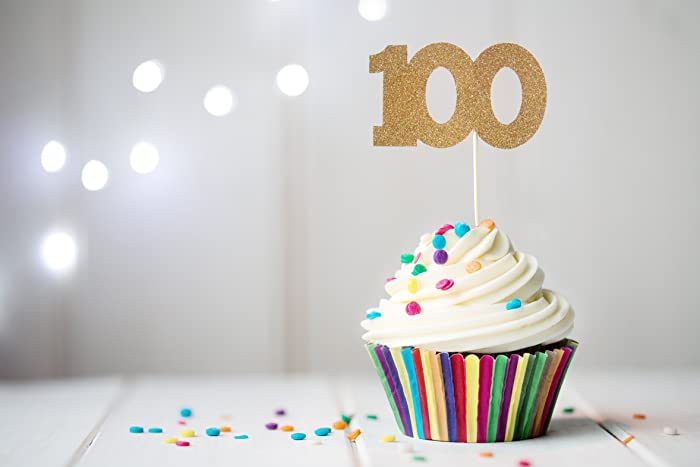 100 Cupcake Topper 100th Birthday Anniversary