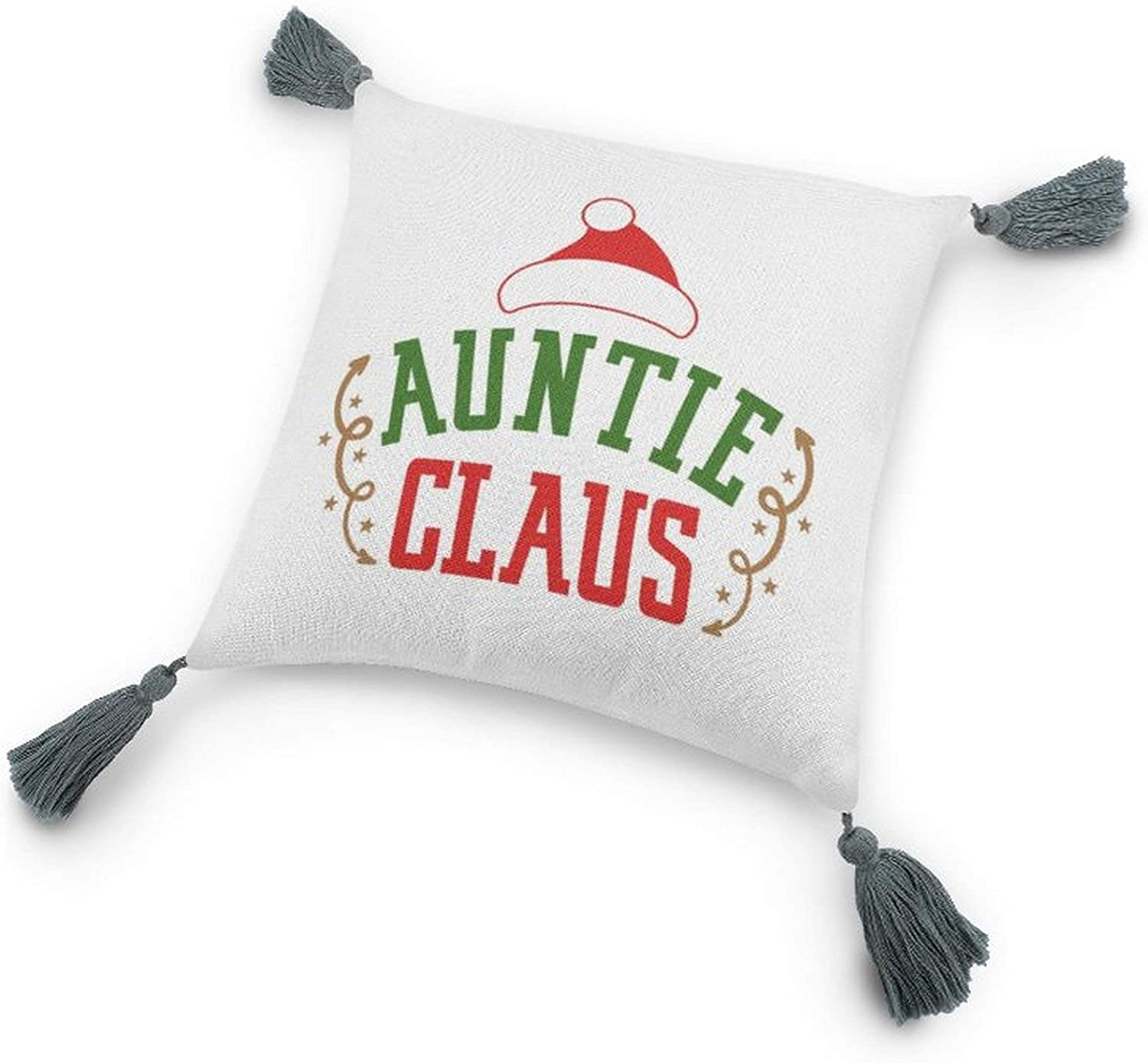 Auntie Claus Pillow Covers with Tassels, Cotton Linen Tassel Pillow,Decor Home Gift, 9.8