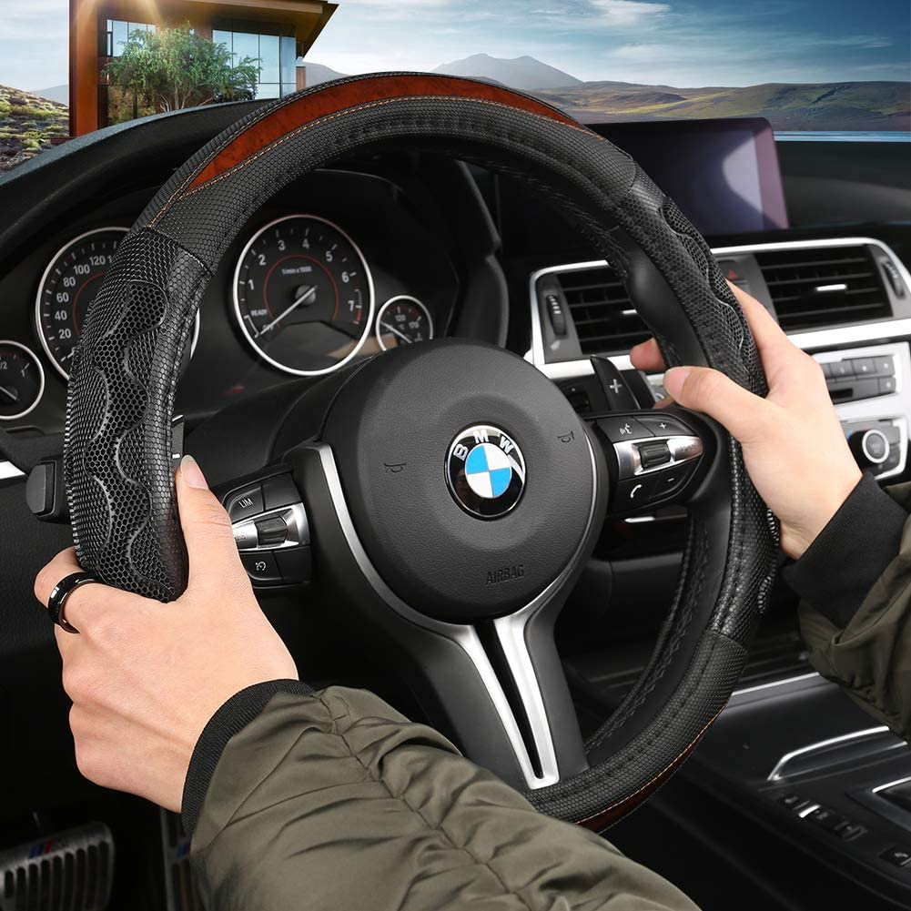 Improves Control /& Anti-Slip Design Black Black Panther Car Steering Wheel Cover with Grip Contours 15 inch Universal