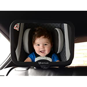 Venture Acti-Vue Baby Car Mirror, Wide Convex Mirror, 100% Shatterproof, New Improved Design | Crash Tested and Certified for Safety | Premium Quality