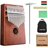 Finger Piano NASUM 17 Key Kalimba Thumb Piano Pocket Thumb Piano Mahogany Body, Finger Percussion Keyboard with Instruction and Tune Hammer, for Beginners and Advanced Players