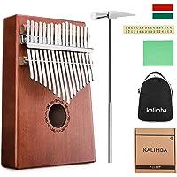 Kalimba Africain 17 Clés NASUM Pouce Piano en Bois Massif Tableau de Percussions avec Accordeur+Autocollants+Sac de Transport, pour Mbira Sanza Instrument de Pouce Cadeau Musical