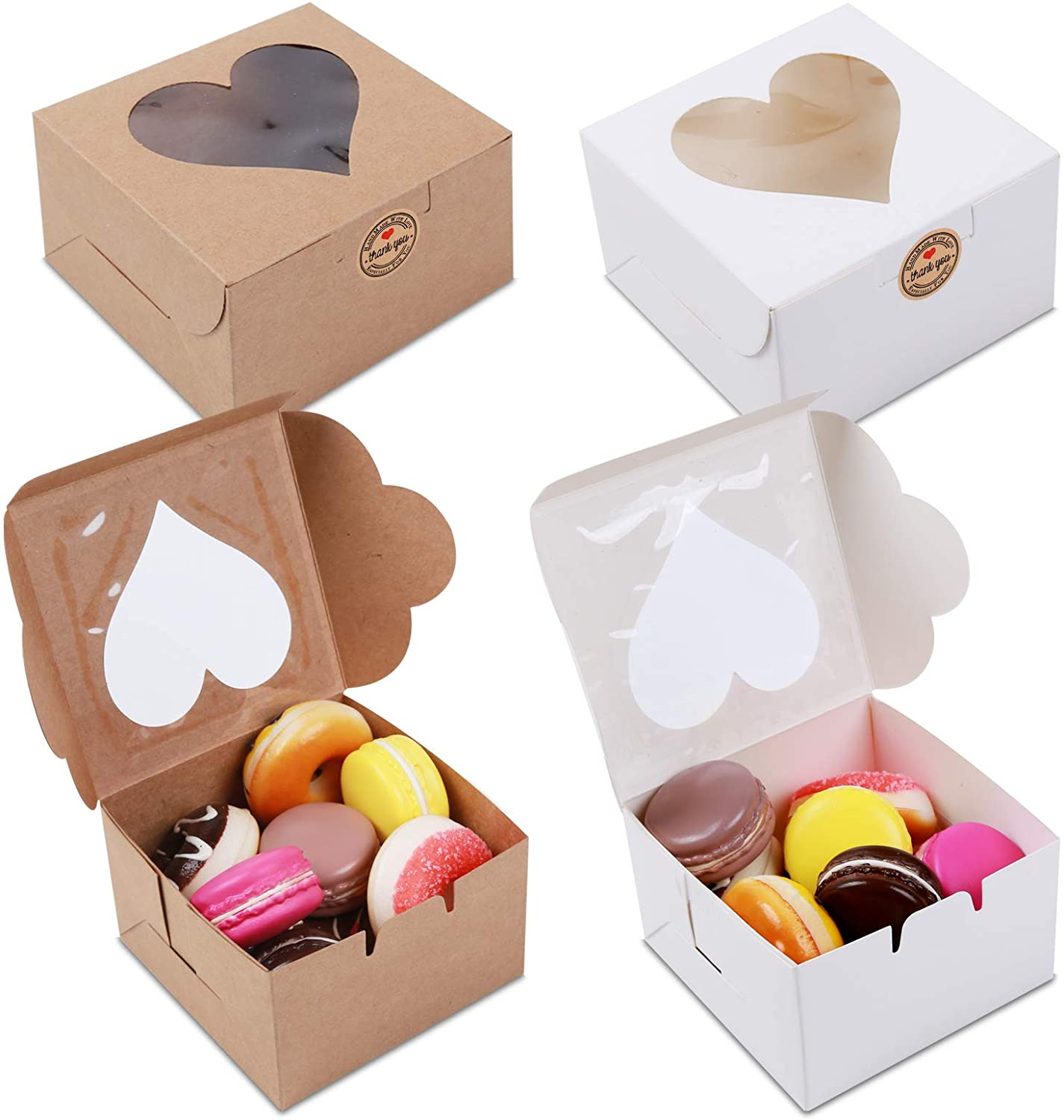 MCART 50 Pack White and Brown Boxes Shaped Sales for sale Bakery Win Heart Cheap sale with