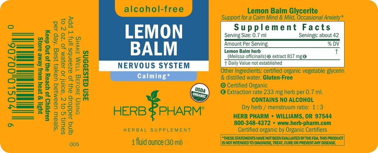 Herb Pharm Certified Organic Lemon Balm Liquid Extract for Calming Nervous System Support, Alcohol-Free Glycerite, 1 Oz: Health & Personal Care