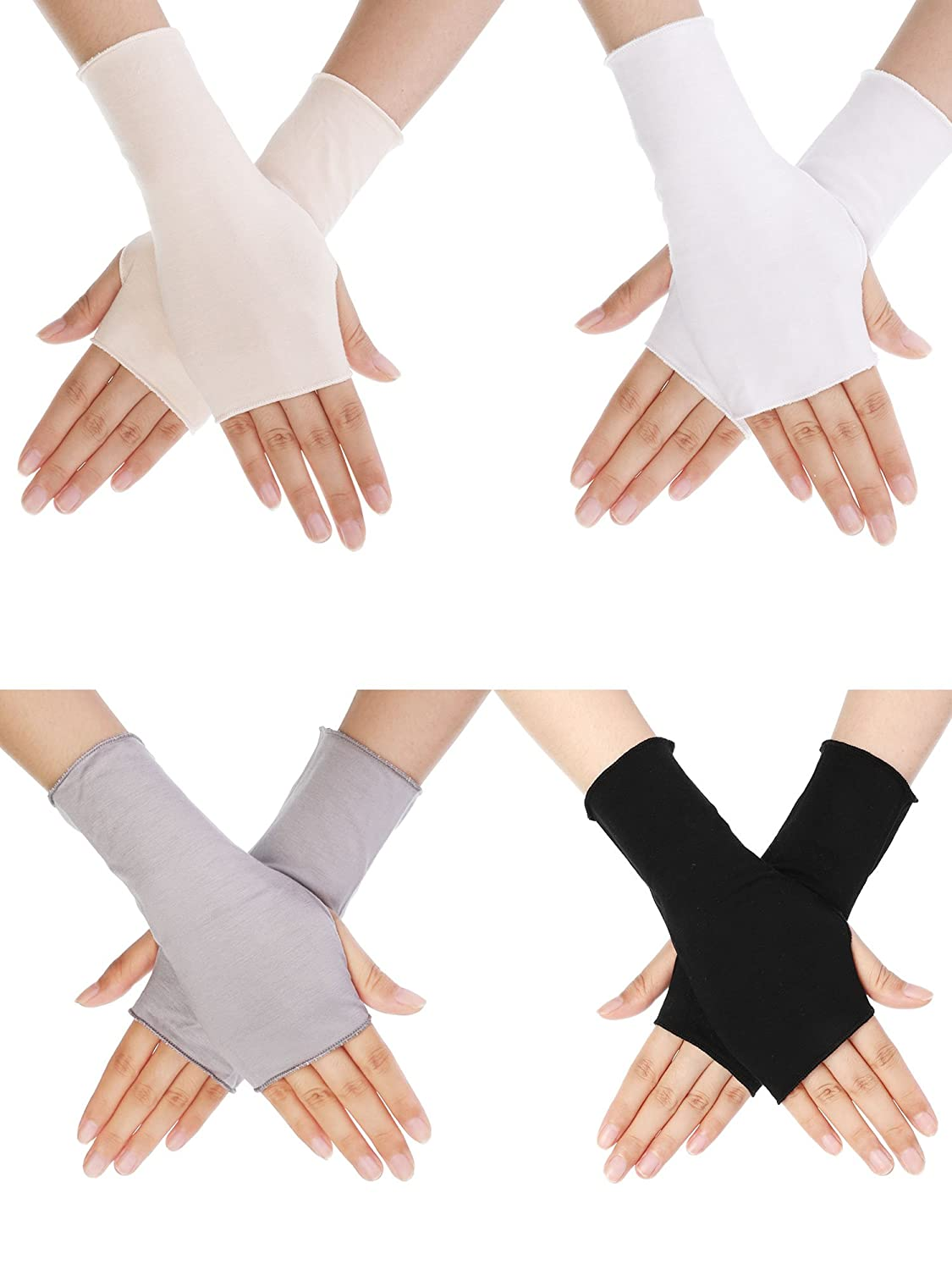4 Pairs UV Protection Gloves Wrist Length Sun Block Driving Gloves Unisex Fingerless Glove, 4 Colors