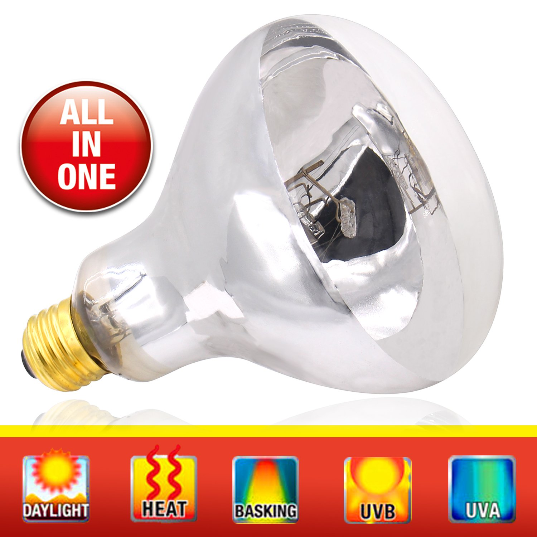 UVA UVB Mercury Vapor Bulb - 100W Sun Simulating Bulb High Intensity UVA UVB Light Heat Bulb For Reptile and Amphibian Use AIICIOO