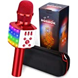 BONAOK Wireless Bluetooth Karaoke Microphone with controllable LED Lights, 4 in 1 Portable Karaoke Machine Speaker for Android/iPhone/PC (Red)