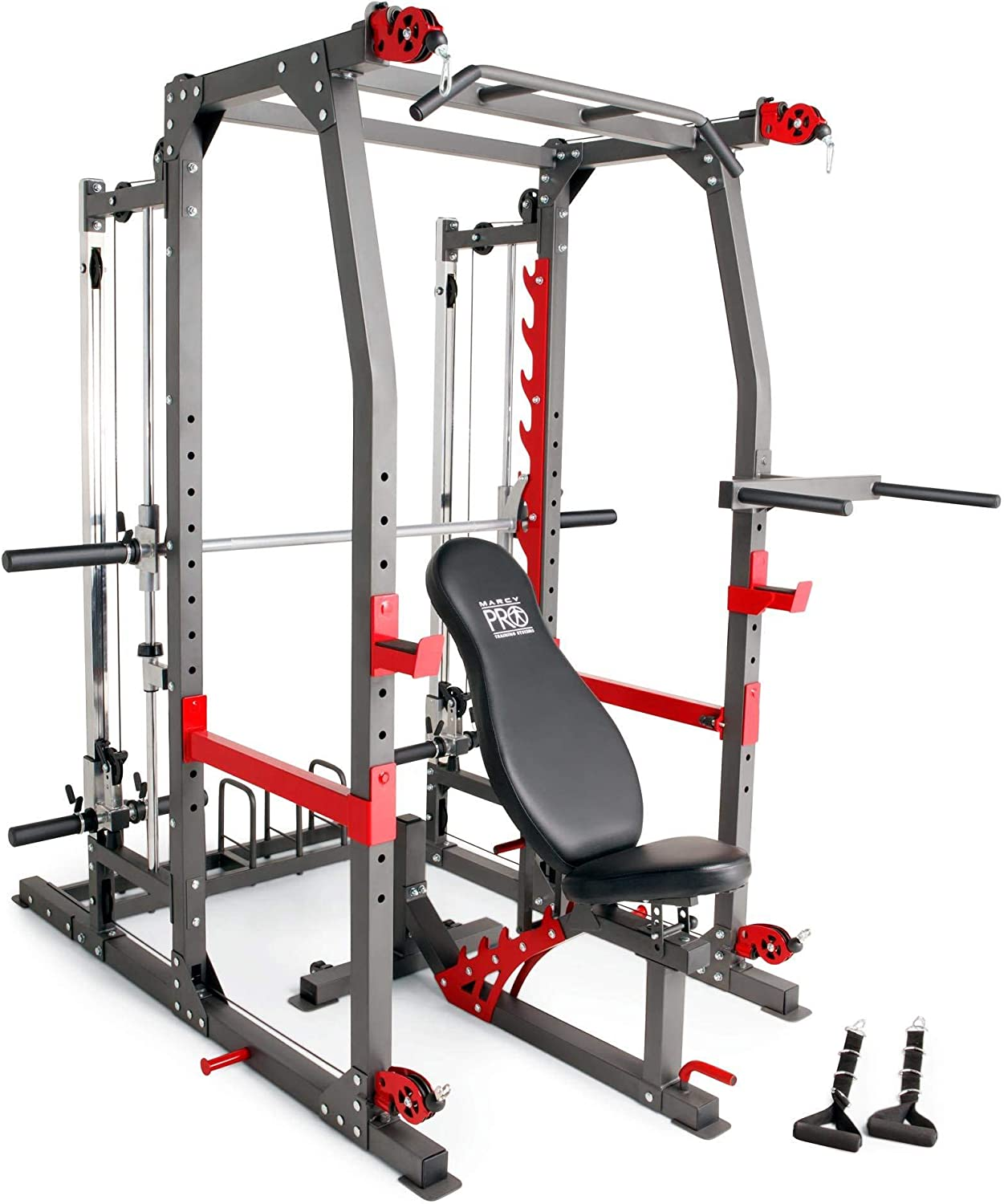 Marcy Pro Smith Machine Weight Bench Home Gym with Total Body Workout Training System