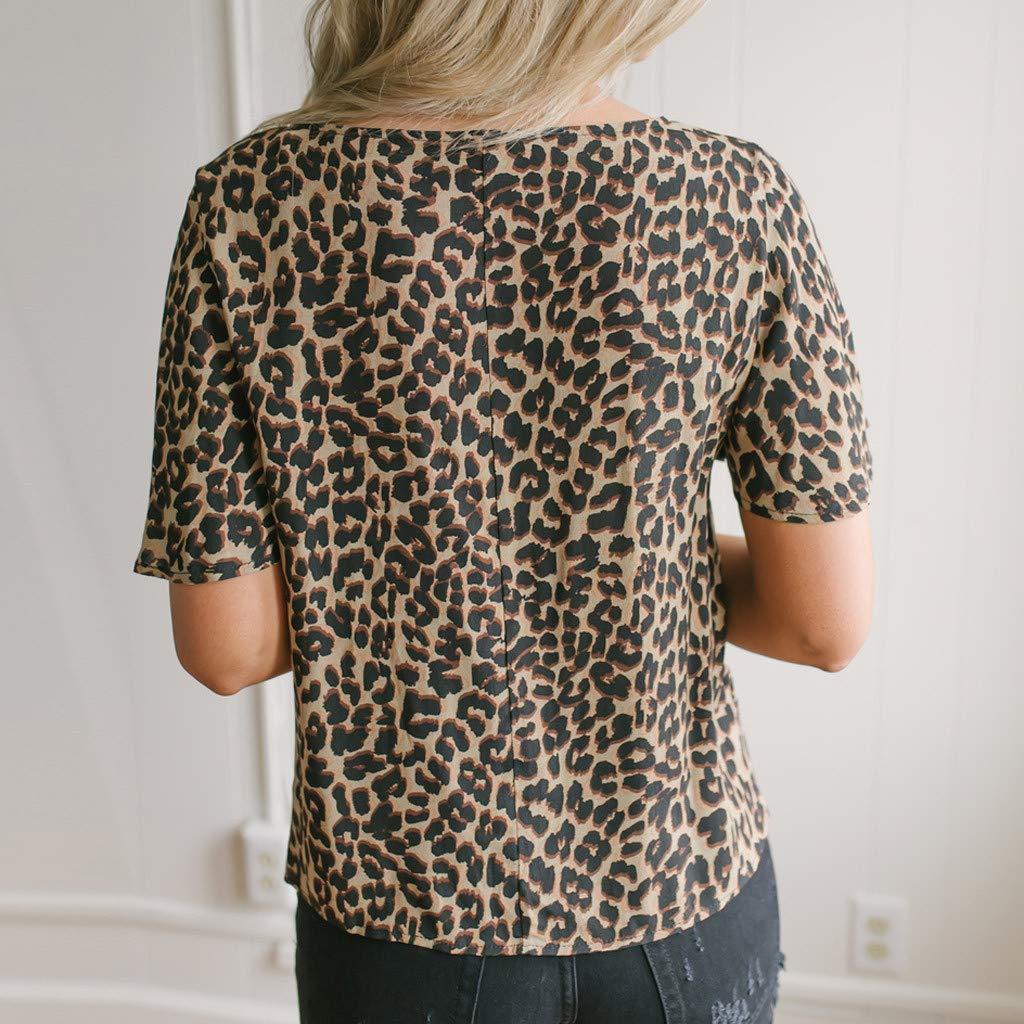 wyxhkj Verano Mujer Camiseta Manga Corta Blusas Manga Corta Estampado De Leopardo Bot/ón Anudado V-Cuello Top Camisa Informal Casual