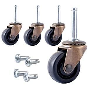 Podoy Antique Casters Wheels 1-5/8-Inch with Stem Socket Replacement for Furniture, Chairs, Small Sofa, Office Decorative Casters Use for All Hardwood Floor (Set of 4))…