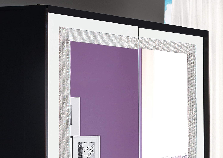 LIGNEUBLE Glamour Lacado Negro y Blanco Dormitorio diseño: el Conjunto con 2 Puertas correderas + la Cama 160 + los 2 caballetes + la cómoda + el Espejo: Amazon.es: Hogar