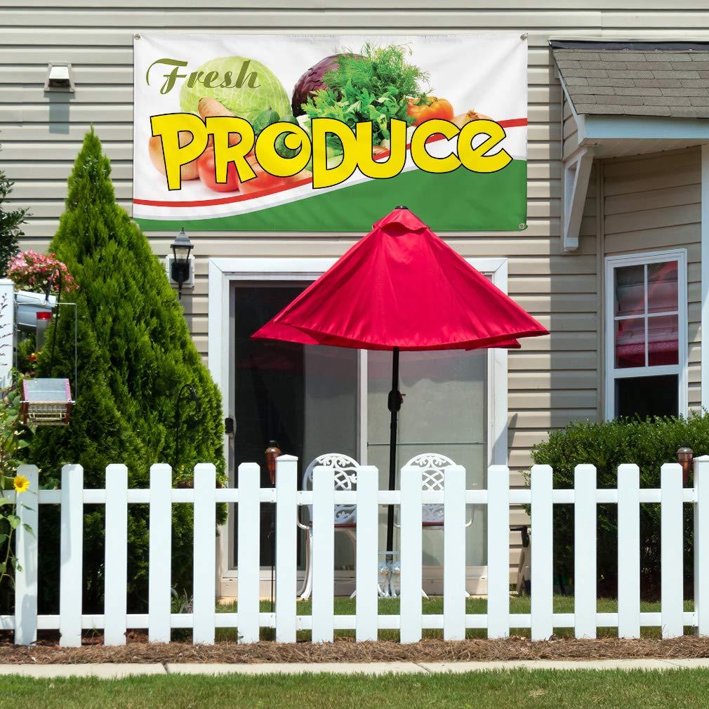 Multiple Sizes Available 44inx110in Vinyl Banner Sign Fresh Produce #1 Style G Vegetable Marketing Advertising White 8 Grommets One Banner