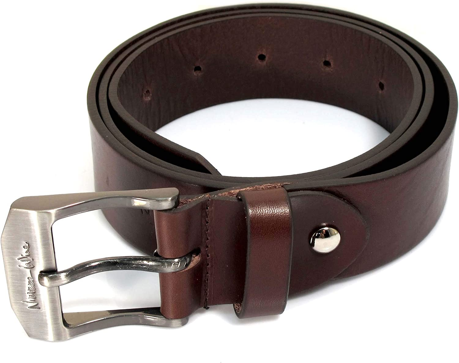 CM2 Mens Real Genuine Leather Dark Brown Belt 1.5 Wide S-XL Thick Casual Jeans